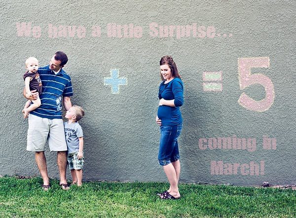 Pregnancy announcement on wall
